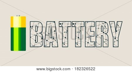 Vector illustration of cylinder battery. Battery word