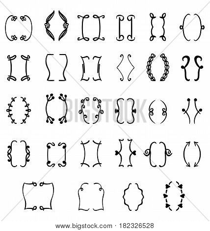 Set of braces. Vector hand drawn illustration.