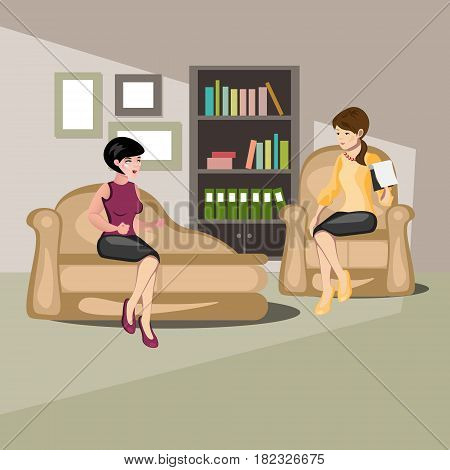 Girl at reception with psychologist. Psychologist, talking with the patient in depression.