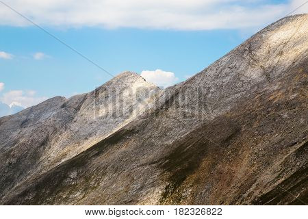 Closeup view from under the peaks Kutelo and Vihren to Koncheto saddle and Banski suhodol peak in Pirin mountain Bulgaria