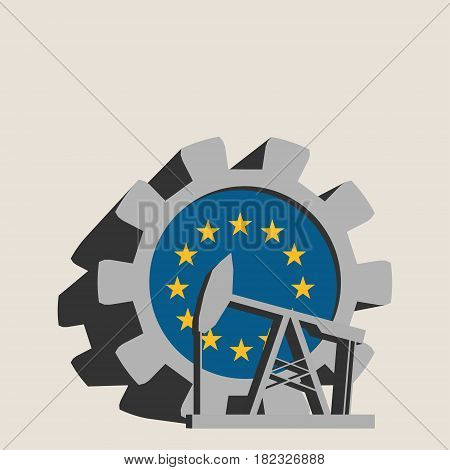 3D cog wheel with oil pump textured by European Union flag. Heavy and mining industry concept.