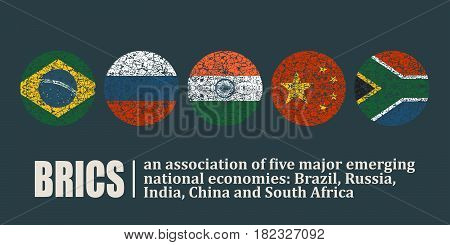 BRICS - association of five major emerging national economies. Brazil, Russia, India, China and South Africa flags icons. Trade union.