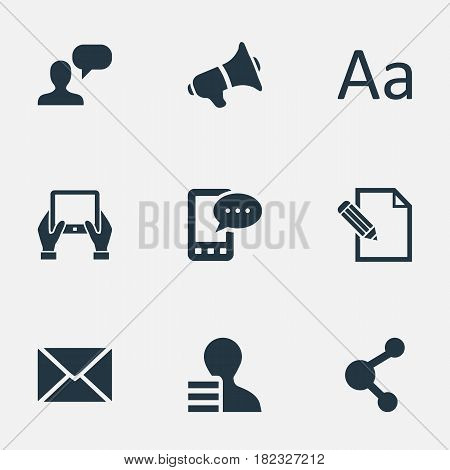 Vector Illustration Set Of Simple Blogging Icons. Elements Document, Post, Notepad And Other Synonyms Share, Pen And Contract.