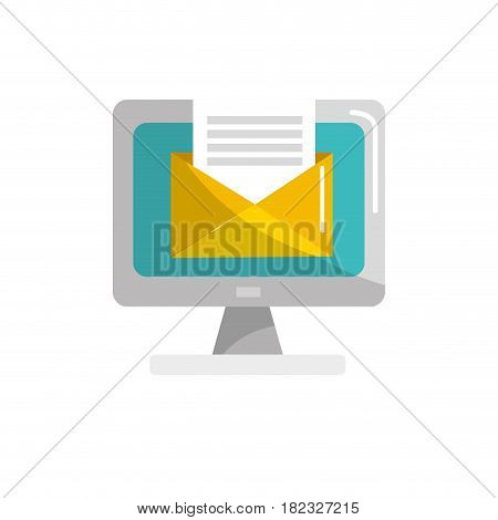 computer with virtual folder open message, vector illustration