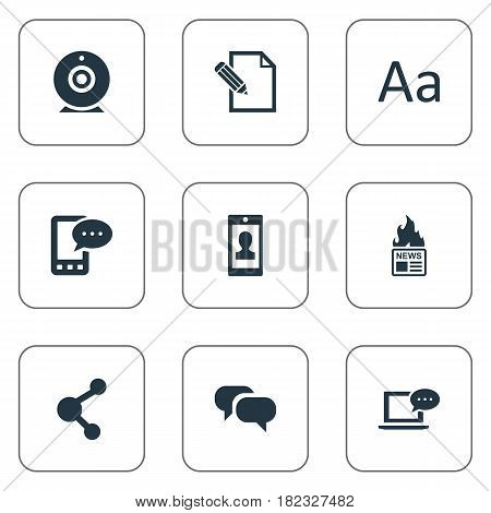 Vector Illustration Set Of Simple Newspaper Icons. Elements Gazette, Gossip, Document And Other Synonyms News, Broadcast And Alphabet.