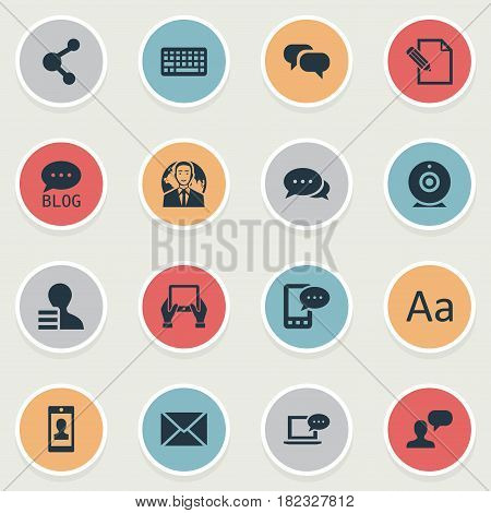 Vector Illustration Set Of Simple User Icons. Elements Document, Site, International Businessman And Other Synonyms Cedilla, Gossip And Coming.