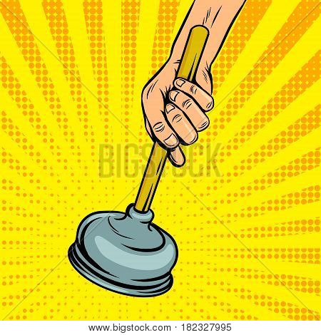 Plunger pop art style vector illustration. Comic book style imitation