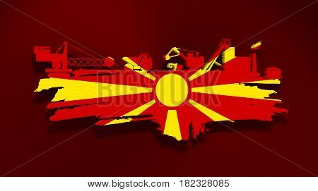 Energy and Power icons set and grunge brush stroke. Coal mining relative image. 3D rendering. Flag of the Macedonia