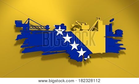 Energy and Power icons set and grunge brush stroke. Coal mining relative image. 3D rendering. Flag of the Bosnia