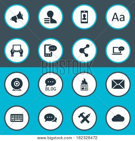 Vector Illustration Set Of Simple Blogging Icons. Elements Gazette, Post, Profile And Other Synonyms Loudspeaker, Notepad And Forum.