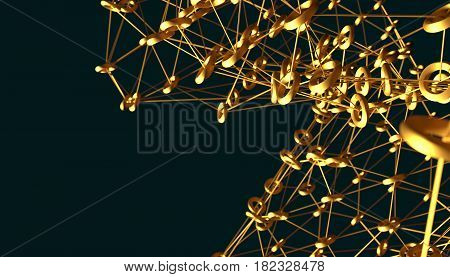 Molecule And Communication Background. Brochure or web banner design. Lines and rings. Medical, technology, chemistry, science relative. Shallow depth of field. 3D rendering. Metallic material