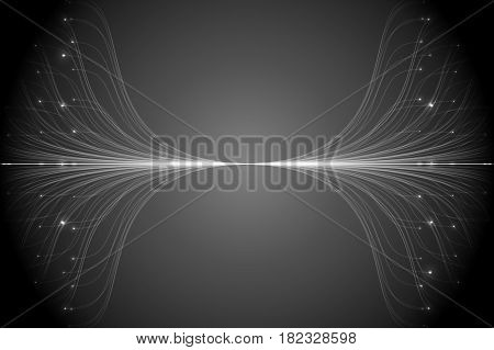 Abstract vector grayscale lines mesh background. Bioluminescence of tentacles. Futuristic style card. Elegant background for business presentations. Eps 10.