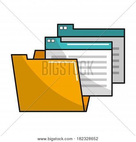 yellow documents file folder icon, vector illustration