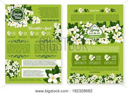 Springtime greetings vector posters set with Welcome Spring wishes and quotes. Holiday design of blooming white crocuses or snowdrops flowers and daisy blossoms on green grass lawn