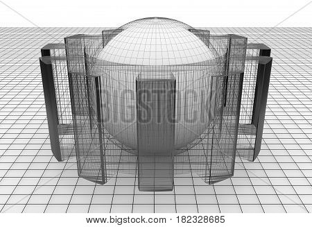 Gear wheel isometric model. Background industrial design. Conceptual wire-frame illustration. 3D rendering. Grey sphere in the cog wheel