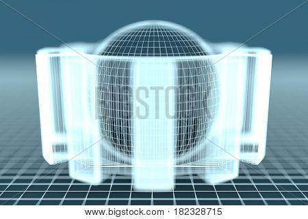 Gear wheel isometric model. Background industrial design. Conceptual wire-frame illustration. 3D rendering. Grey sphere in the cog wheel. Shallow depth of field. Neon shine material