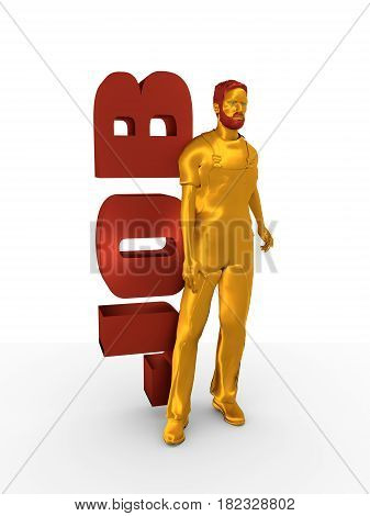 Young man wearing apron. Bearded worker at job word. 3D rendering. Metallic material.