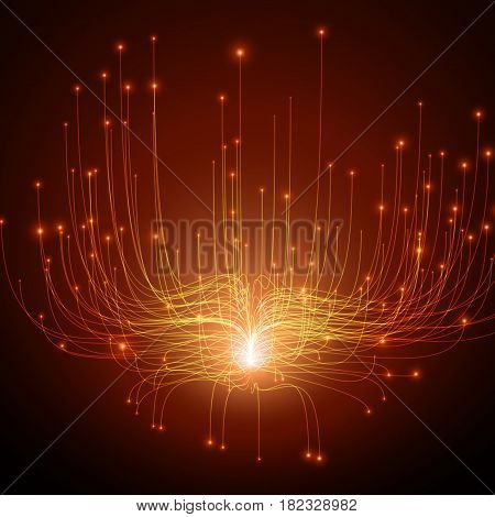 Abstract vector red lines mesh background. Bioluminescence of tentacles. Futuristic style card. Elegant background for business presentations. Eps 10.