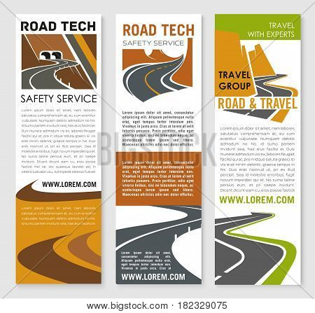Road safety and construction technology service company vector banners set for highway development or investment corporation. Symbols of motorway tunnels and highway routes with bridges