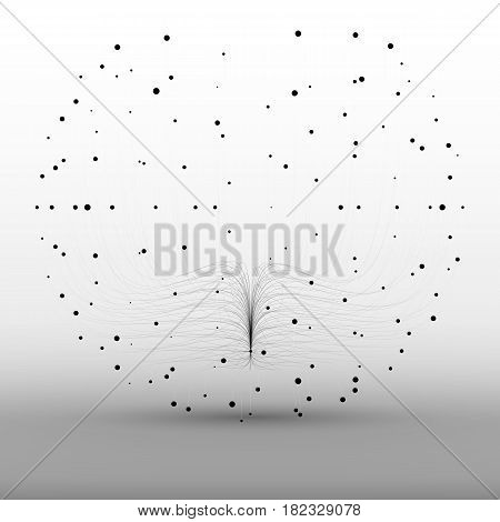 Abstract vector grayscale sphere mesh background. Bioluminescence of tentacles. Futuristic style card. Elegant background for business presentations. Eps 10.