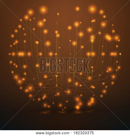 Abstract vector orange sphere mesh background. Bioluminescence of tentacles. Futuristic style card. Elegant background for business presentations. Eps 10.