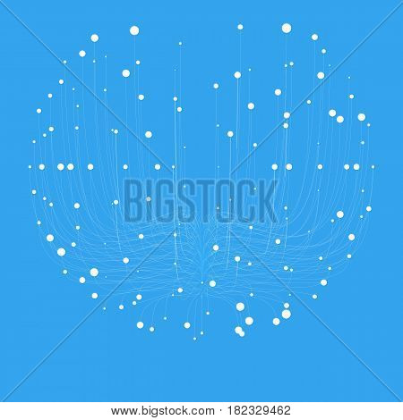 Abstract vector blue sphere mesh background. Bioluminescence of tentacles. Futuristic style card. Elegant background for business presentations. Eps 10.