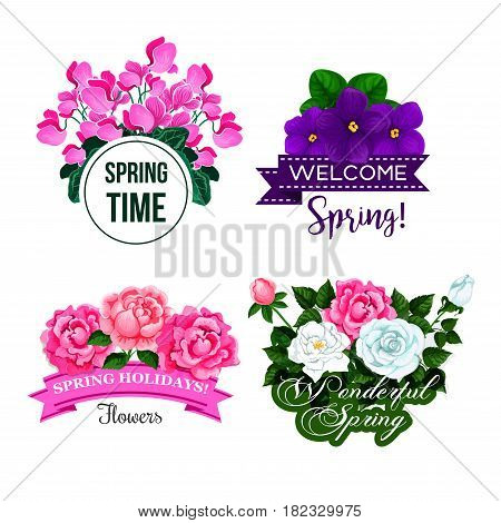 Welcome Spring quotes on floral isolated vector icons. Springtime greetings on ribbons with flowers of blooming crocuses, garden roses bunch and begonia blossoms for Wonderful Spring Time design set