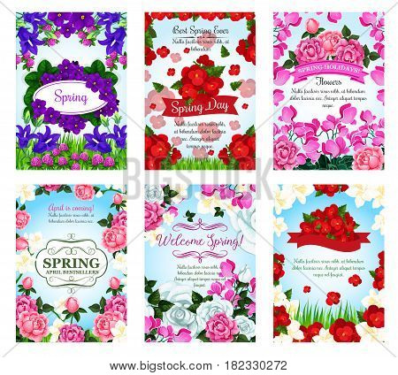 Flowers for Spring Time holidays greeting cards or posters set. Blooming irises and clover blossoms, garden roses bouquets and poppy bunches and begonia or orchid buds with ribbons on green grass lawn