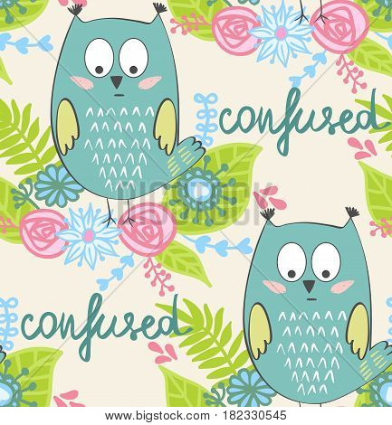 vector illustration of a cartoon owl. Confusion.