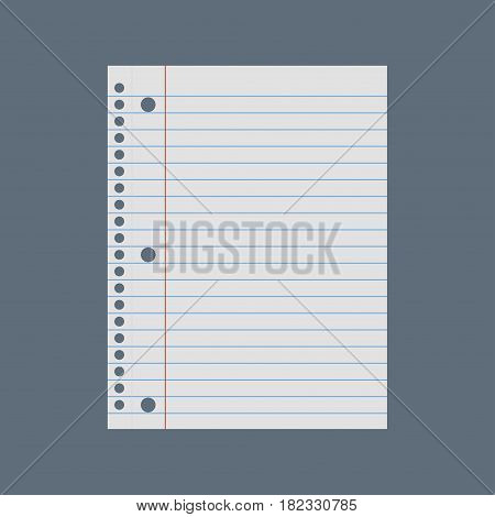 School notebook paper. Notebook paper white. Lined paper