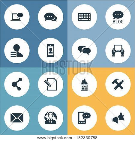 Vector Illustration Set Of Simple Blogging Icons. Elements Gazette, Gossip, Post And Other Synonyms Pencil, Argument And Writing.