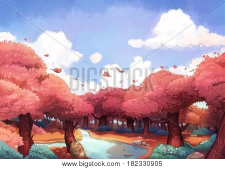 A Beautiful Day in the Summer or Autumn Forest, Leaves Dancing with Wind. Video Game's Digital CG Artwork, Concept Illustration, Realistic Cartoon Style Background