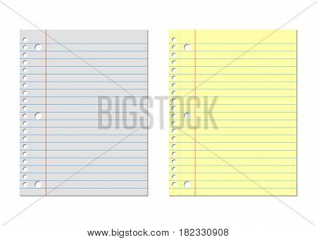 Notebook paper yellow and white. Lined paper, vector