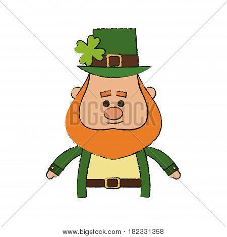 irish leprechaun cartoon icon over white background. colorful design. vector illustration