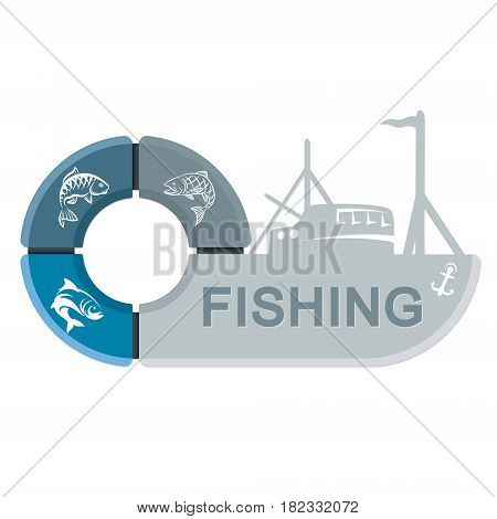 A fishing vessel with infographics. Symbol for the fishing industry.