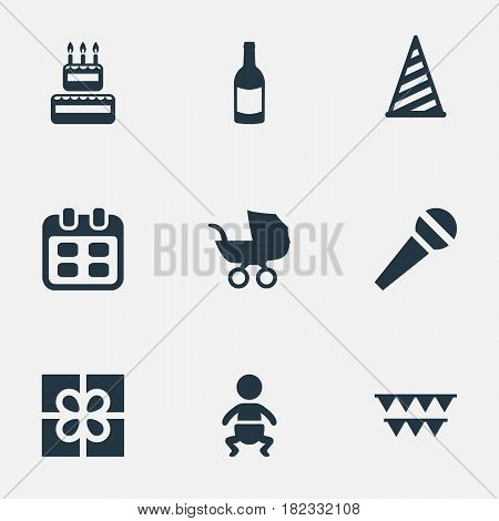 Vector Illustration Set Of Simple Holiday Icons. Elements Box, Infant, Cap And Other Synonyms Beverage, Confectionery And Hat.