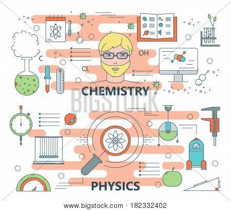 Vector set of chemistry and physics concept horizontal banners. Modern thin line flat design elements, icons for web, presentation and printing.
