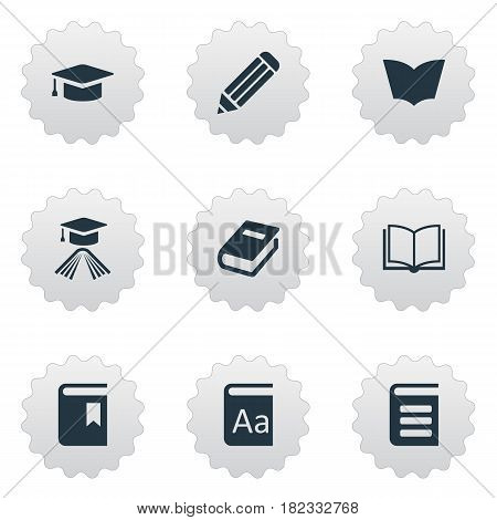 Vector Illustration Set Of Simple Reading Icons. Elements Academic Cap, Blank Notebook, Pen And Other Synonyms Dictionary, Pencil And Catalog.