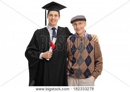 Graduate student and his grandfather looking at the camera and smiling isolated on white background