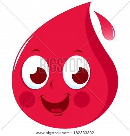 Vector illustration of a cute cartoon representing a blood drop. Blood donation concept character.
