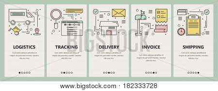 Vector set of e-commerce concept vertical banners. Logistics, tracking, delivery, Invoice and Shipping templates. Modern thin line flat design elements, symbols, icons for website menu, print