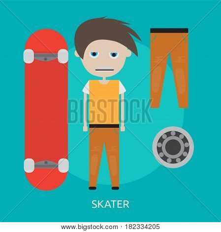 Skater Conceptual Design | Great flat illustration concept icon and use for sport, award, hobby, job, and much more. the set can be used for several purposes like: websites, print templates, presentation