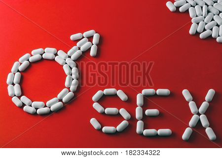 The Word Sex, Capsules And Tablets. The Concept Of Treatment Of Erectile Dysfunction, Impotence.