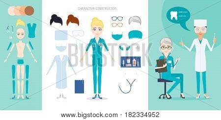 The doctor or nurse character constructor set. Cartoon vector flat style infographic illustration. Kit of medical tools and uniform items for the simulation of different situations