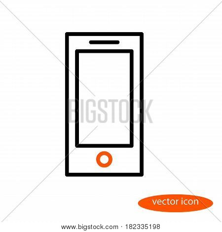 Vector linear image of a smartphone with an orange button a flat line icon.