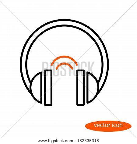 Vector linear image of headphones and orange sound phones flat line icon.