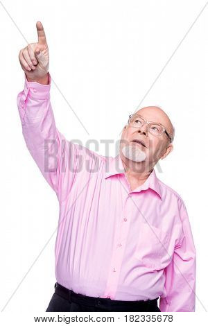 Positive old man showing at something. Healthcare. Retirement. Copy space. Isolated over white.