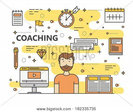 Coaching concept vector illustration. Modern thin line flat design elements, icons for web, marketing, presentation and printing.