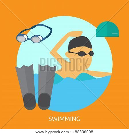Swimming Conceptual Design   Great flat illustration concept icon and use for sport, award, hobby, job, and much more. the set can be used for several purposes like: websites, print templates, presentation