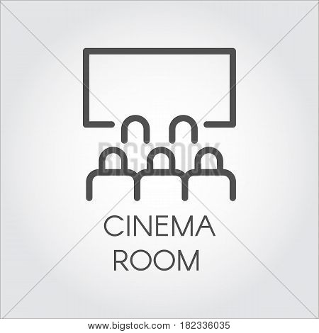 Black flat simple icon in style line art. Outline symbol with stylized image of a audience in room cinema. Stroke vector logo video presentation. Mono linear pictogram web. On a gray background.